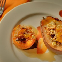 Baked seasonal fruit with maple drizzle (recipe)