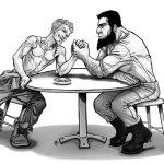 men armwrestling