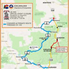 Highway 550 will CLOSE temporarily this Saturday May 29th