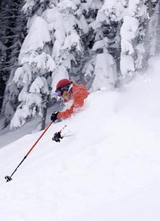 skier in powder