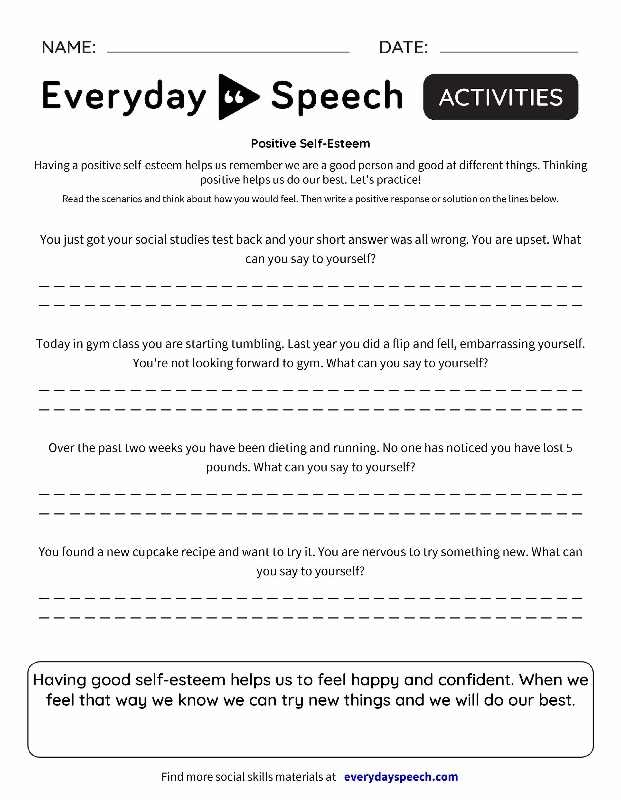 Positive Self Talk Worksheet