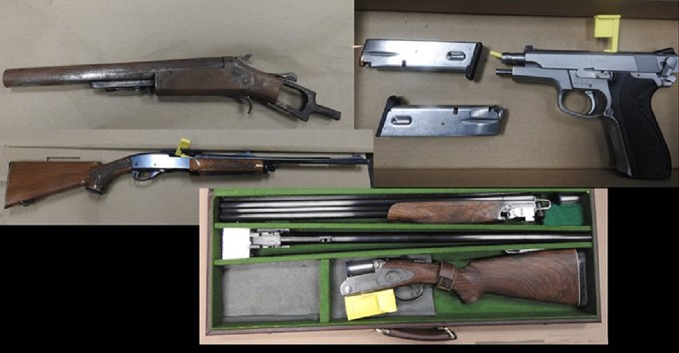 Firearms and drugs seized, pharmacy robbed