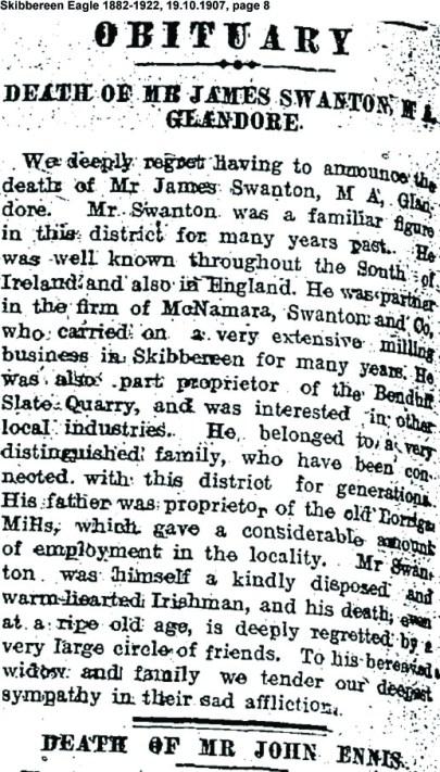 James Swanton Glandore death 1907