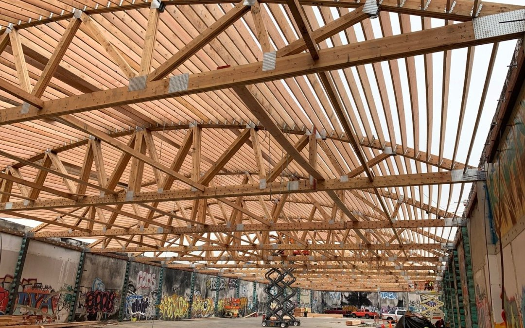 Bowstring Trusses in Vintage L.A. Warehouse New Roof Structure