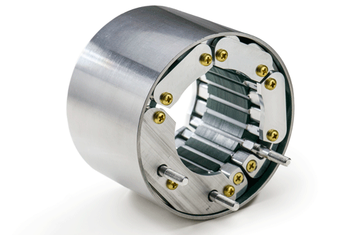 winding-free Solid Slot stator core of a Duryea low-voltage brushless DC motor