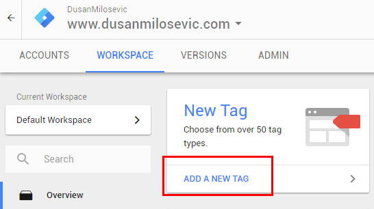 google tag manager gtm add new tag