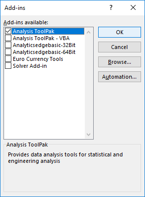 excel analysis toolpak