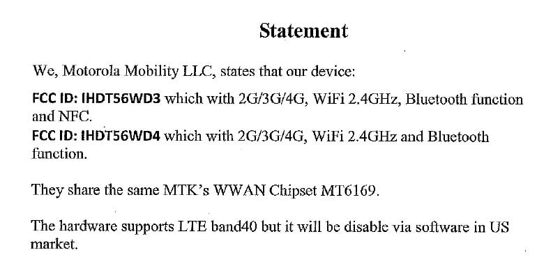Motorola XT1770 approved by the FCC – Download User Manual