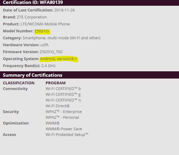 ZTE Z5031O Certified by Wi-Fi Alliance With Android 8 1 Oreo On