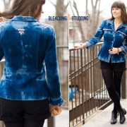 Itajime Shibori Reversed Tie Dye Bleached Studded Denim Jacket DIY
