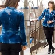 Itajime Shibori Reversed Tie Dye Bleached Studded Denim Jacket DIY