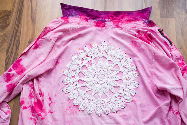 DIY Doily Embellished Shirt Steps