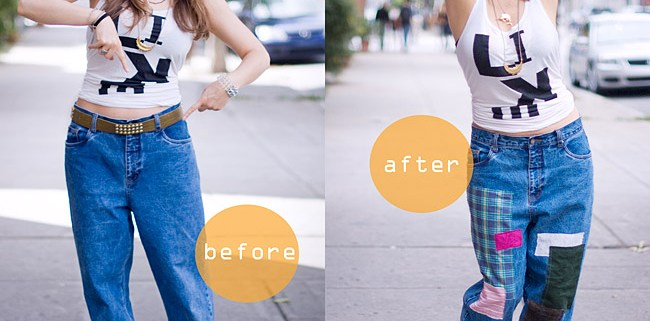 DIY Patched Vintage Jeans Inspired By Junya Watanabe's AW Fashion Collection 2013 Before / After