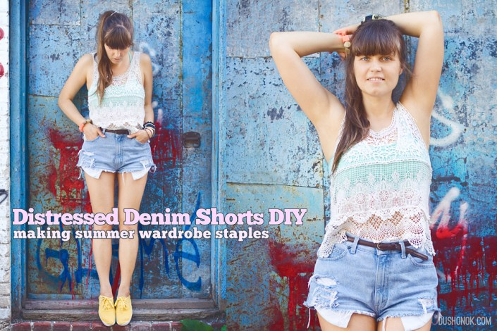 Distressed Denim Cut Off High Waisted Shorts DIY: Making Summer Wardrobe Staples