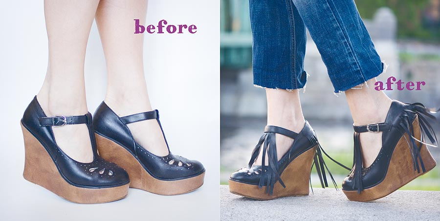Fringe Shoes DIY Before and After