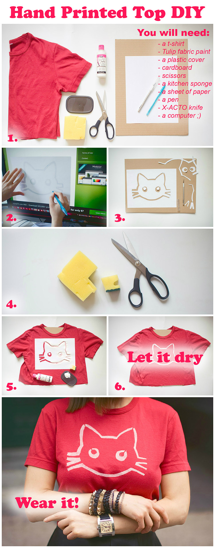 How to Hand Print On a Tee DIY Steps
