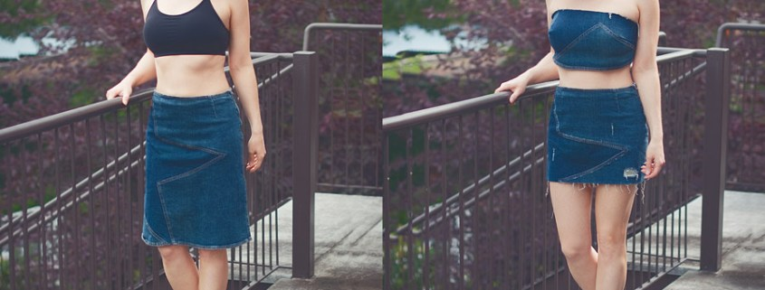 New Life Of Old Denim Skirt: DIY Bandeau Top + Mini Skirt