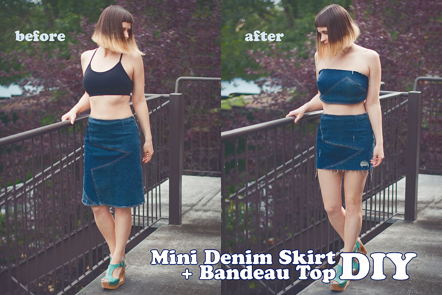 DIY Bandeau Top and Denim Mini Skirt Before After