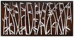 Cor-ten steel Bamboo screen cut our for a Asian flare. This privacy screen can be custom sized to fit any yard.