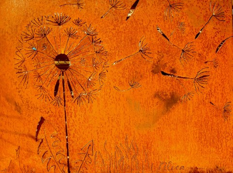 Freehand plasma cut Dandelion metal screen. Custom made to showcase a rough cut. Material is mild steel and install is Toronto, Ontario