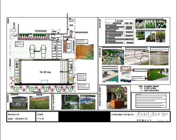 Landscape Design Half-Back Yard with Pool