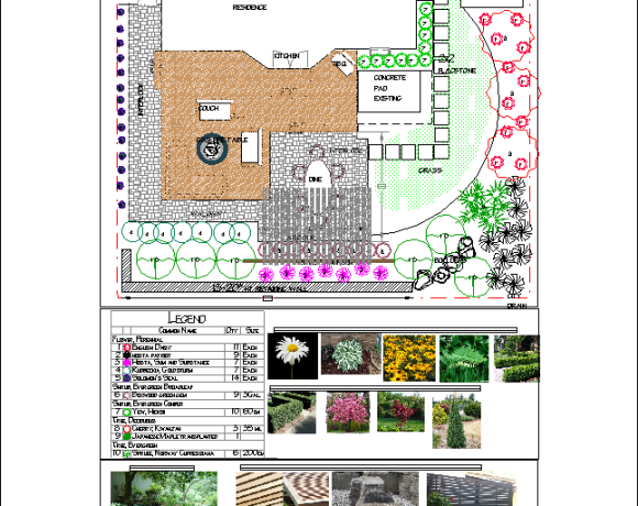 Landscape Design-Backyard with Interlock and Deck