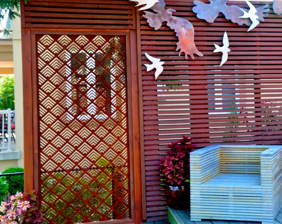 Corten Steel Patterned Screen on Fence