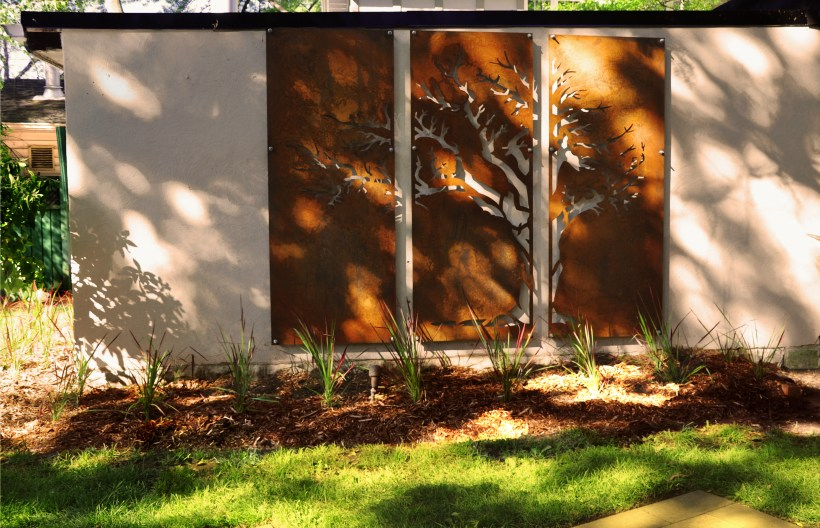 Corten Steel Screen on Garage Wall