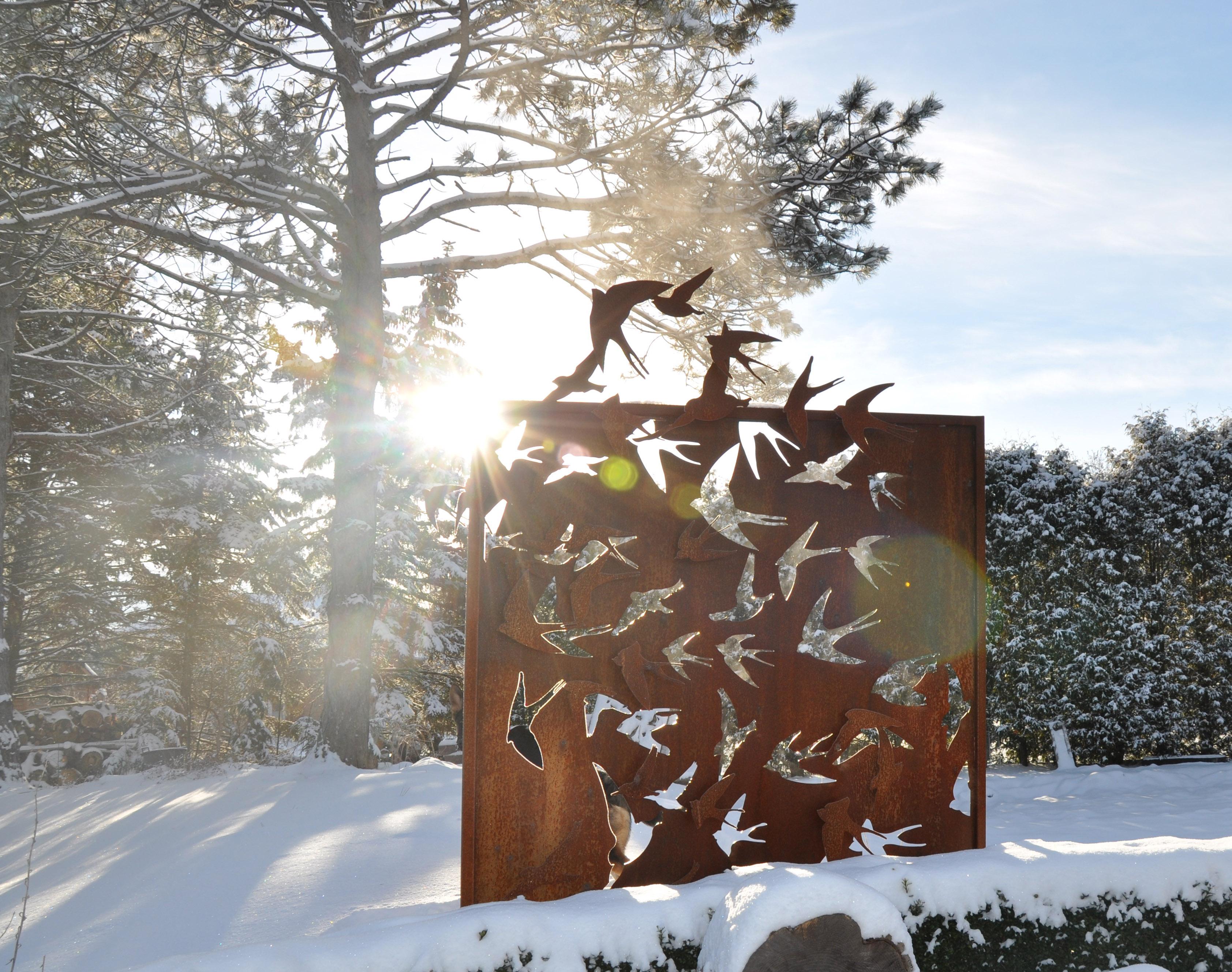 Corten Steel Outdoor Art Screen Birds in Flight - Dusil ...