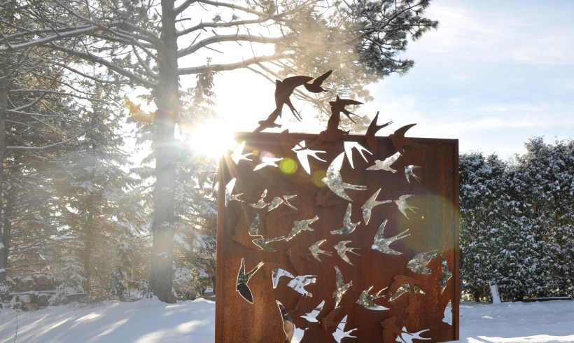 Corten Steel Outdoor Art Screen Birds in Flight