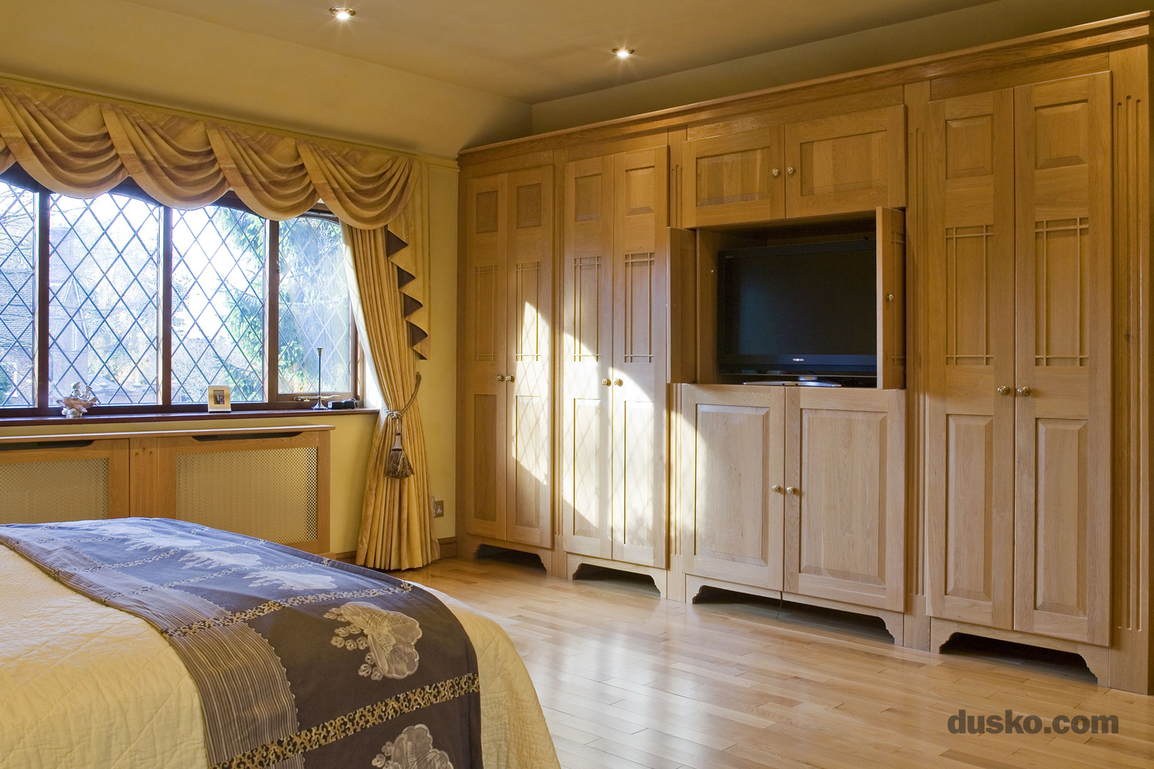 Arts and Crafts Bedroom in Davenham, Cheshire Pocket Door Television Recess