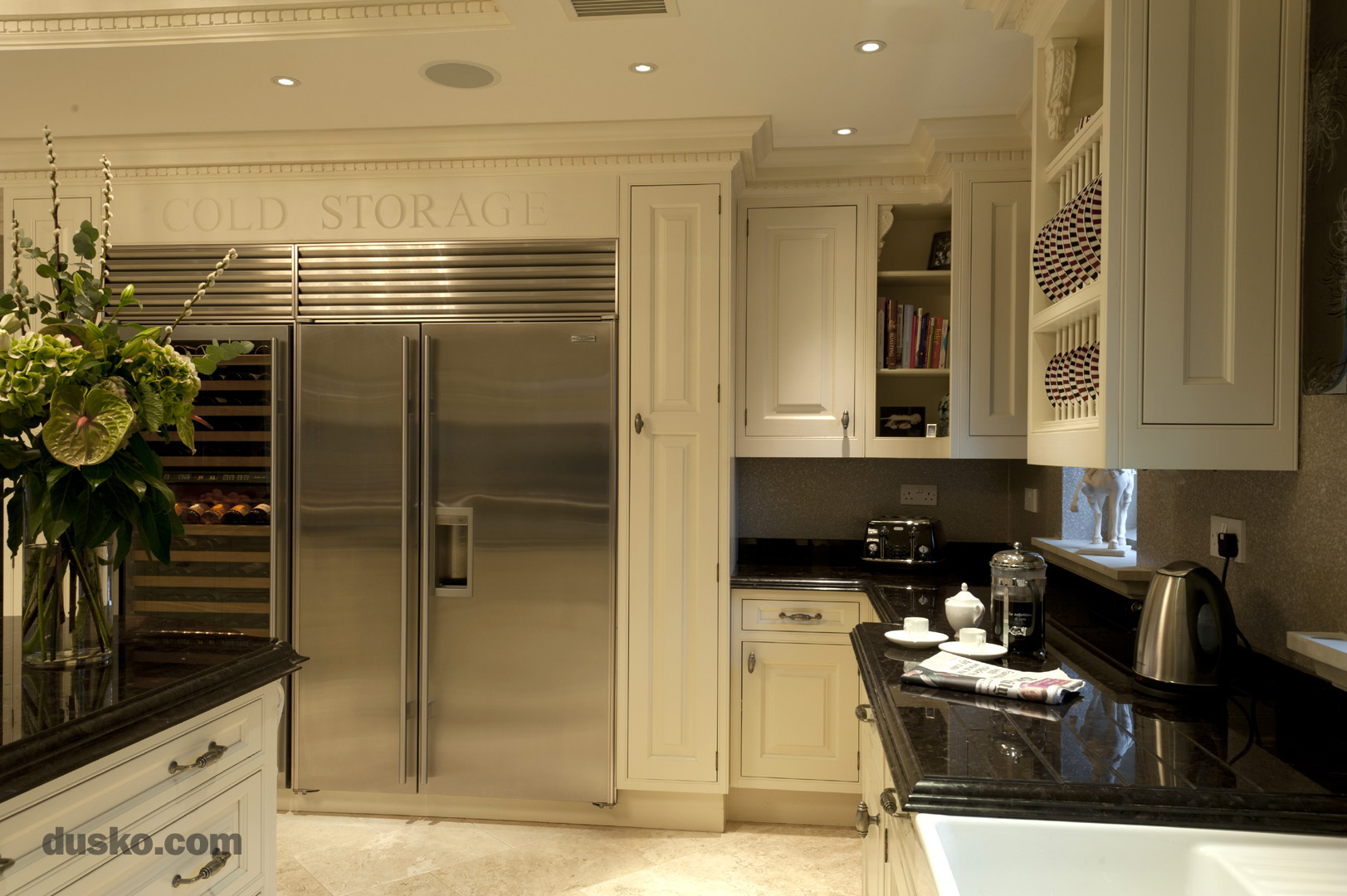 Colonial Style Kitchen in Prestbury, Cheshire Sub Zero Fridge Freezer and Wine Cooler