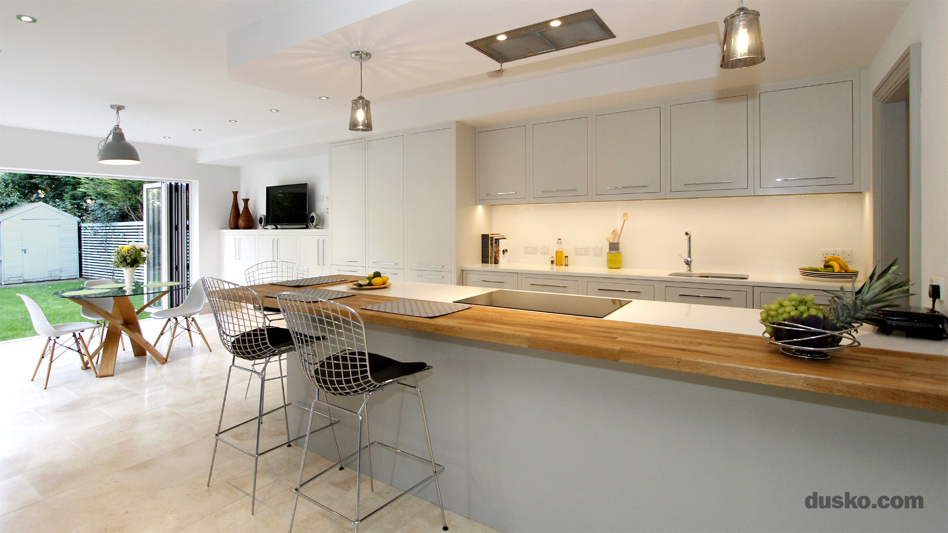 Contemporary Open Plan Kitchen and Dining Area in Handforth  Cheshire Breakfast Bar dusko com