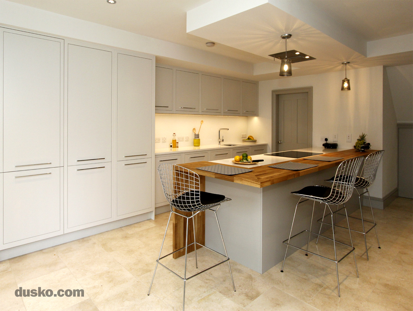Contemporary Open Plan Kitchen and Dining Area in Handforth, Cheshire Integrated Fridge Freezer