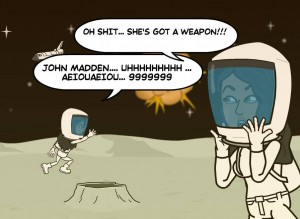 Bitstrips Sabby warns everyone that Bri has gone totally moon base alpha geek......