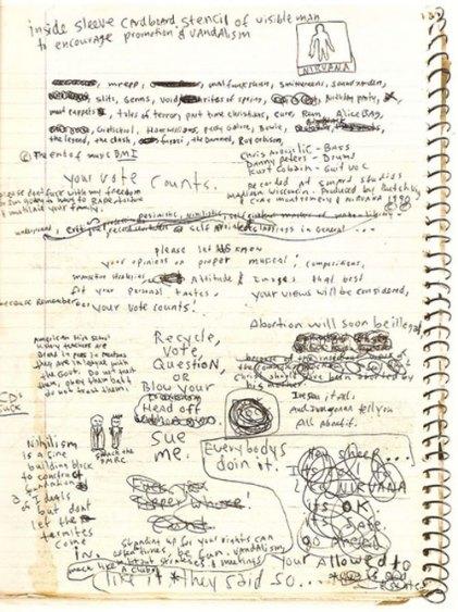 Nirvana grubunun erken yaşta kaybettiğimiz vokalisti Kurt Cobain'in günlüğünden bir sayfa. (Kaynak: flavorwire.com)
