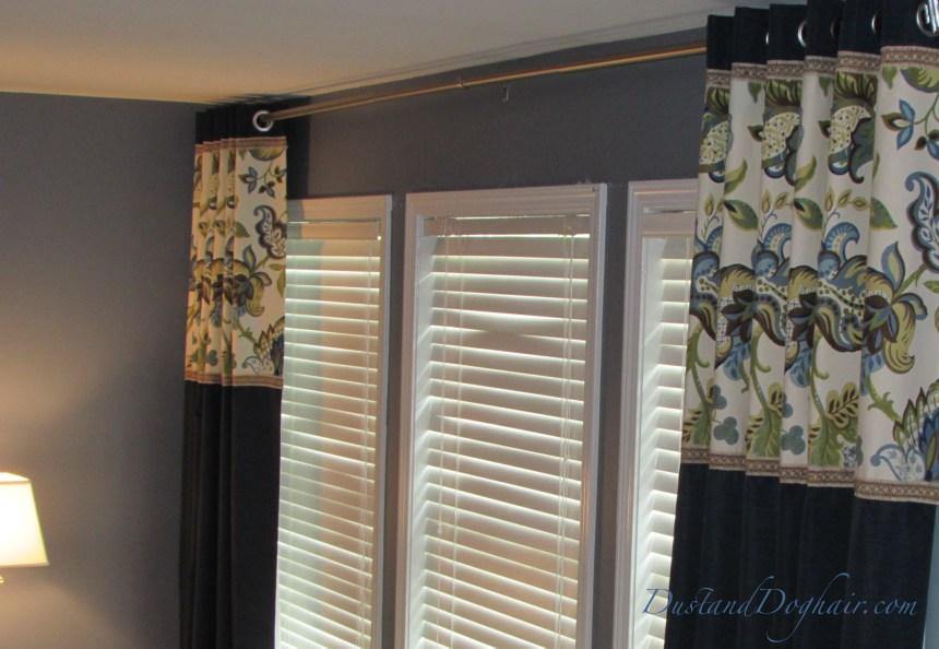 banded drapery panels, banded window treatments, banded panels, budget windows, banded curtains