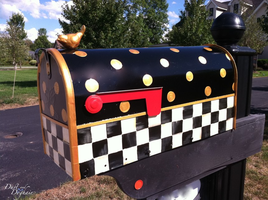 mackenzie-childs inspired, painted mailbox, curb appeal, mailbox posts