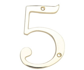 house numbers, brass house fixtures, 5