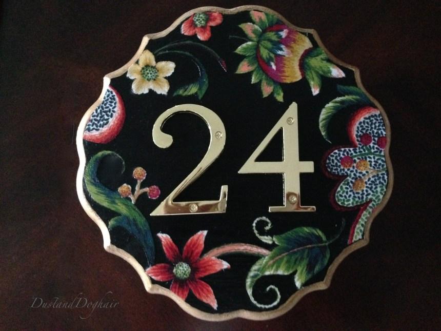 DIY house number, decoupage plaque, 24