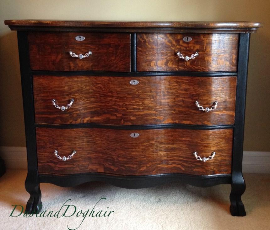 refinished serpentine dresser with diy drawer pulls