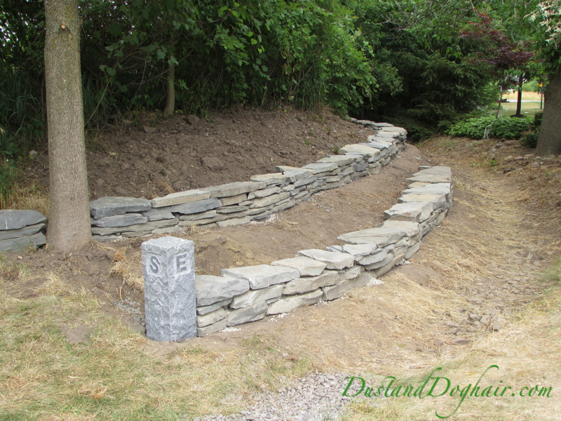 diy dry stack stone retaining wall
