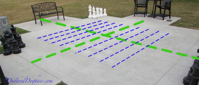 marking off an outdoor chess board