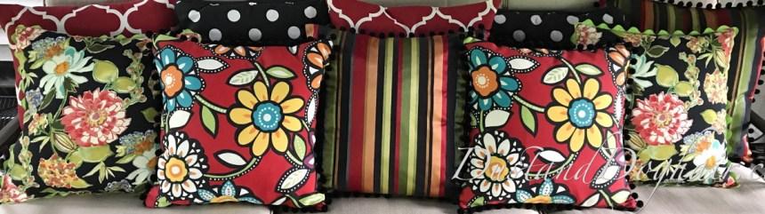 throw pillows, outdoor pillows, red pillows, floral pillows, striped pillows, ball fringe, rick rack, outdoor furniture, bold prints, bold pillows