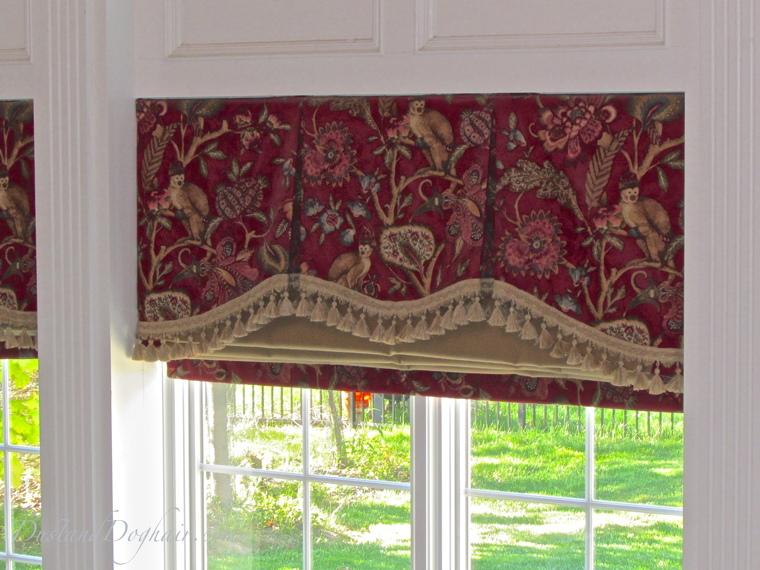 shaped valance, trimmed valance, monkey print, red valance, pleated valance, window treatments