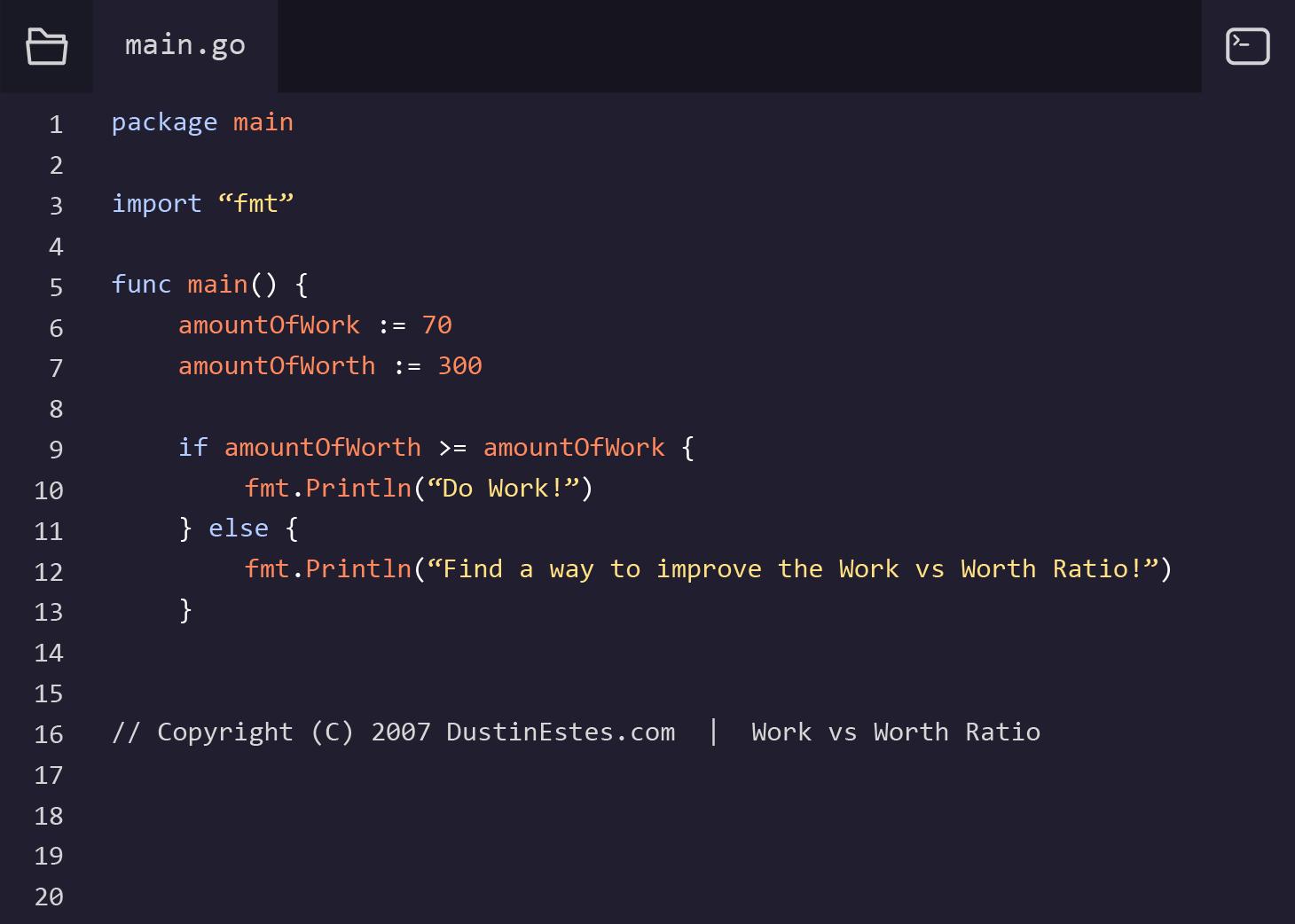 Work vs Worth - GoLang Coding