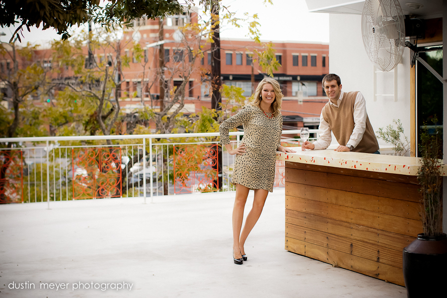 Rooftop engagement portraits in downtown Austin.