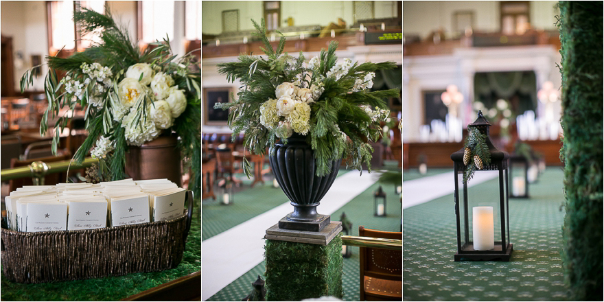 Floral design by unexpected elements at the Texas State capital wedding ceremony