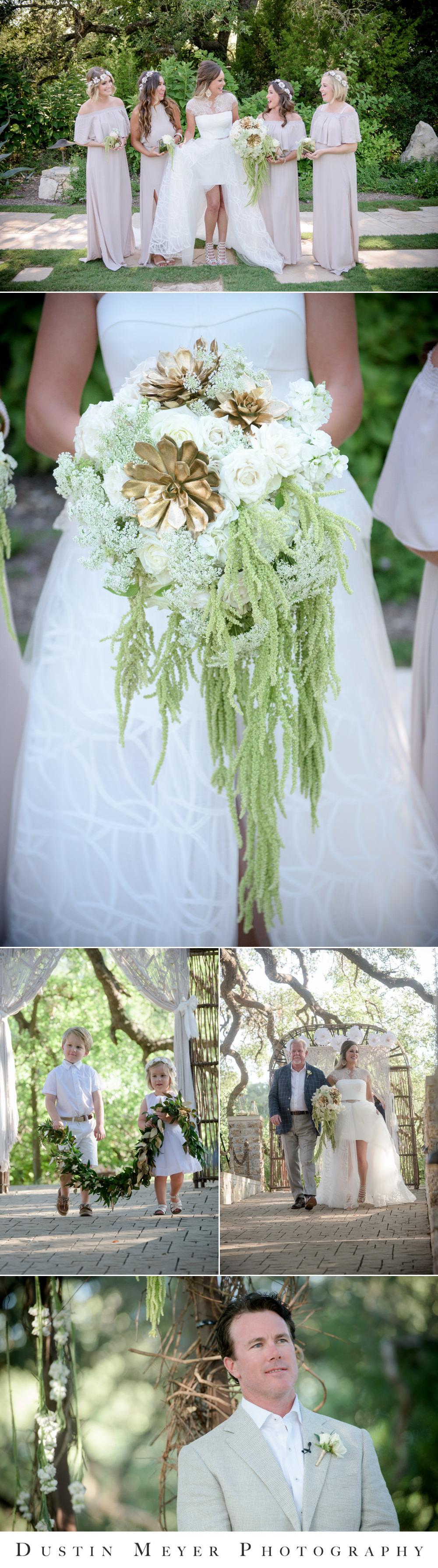 wedding bouquet, camp lucy wedding photos, sacred oaks wedding, father of the bride, groomsmen attire, flower girl dresses,