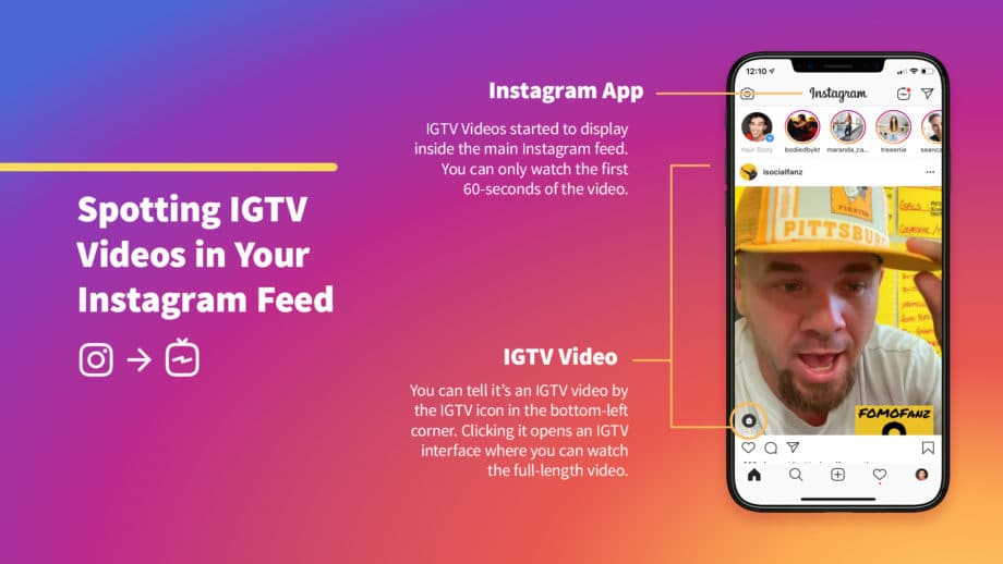 instagram mockup of igtv video